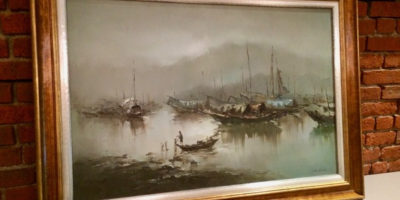 Harbor scene, oil painting in double frame