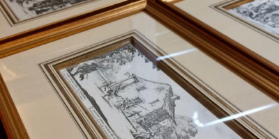 Antique French engravings, hand-decorated matting